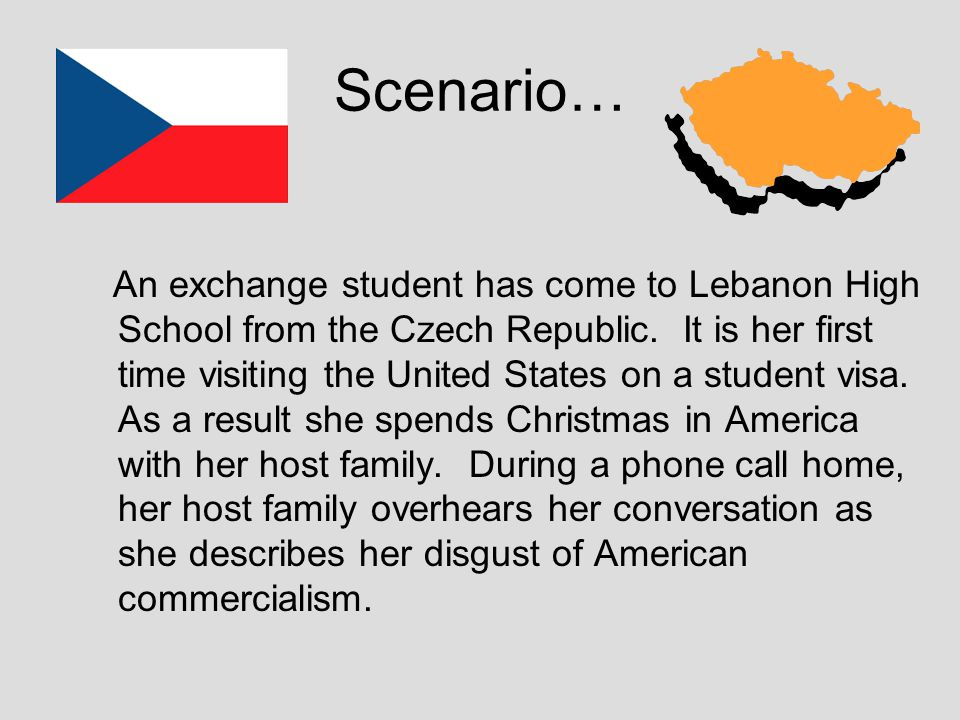 Scenario… An exchange student has come to Lebanon High School from the Czech Republic.