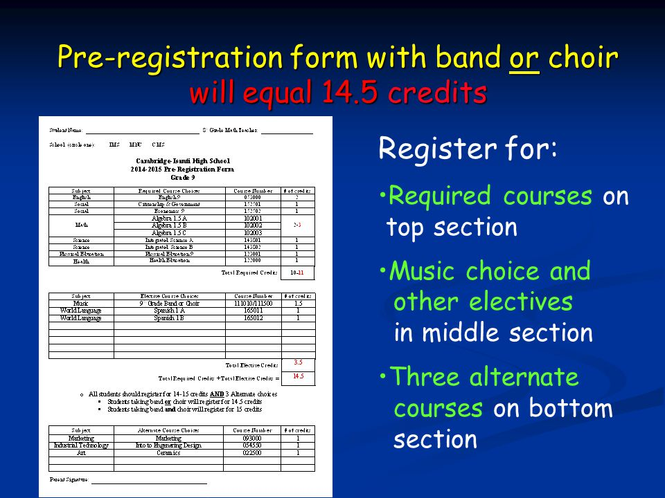 Pre-registration form with band or choir will equal 14.5 credits Register for: Required courses on top section Music choice and other electives in mid