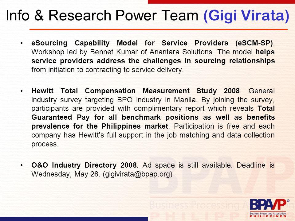Info & Research Power Team (Gigi Virata) eSourcing Capability Model for Service Providers (eSCM-SP).