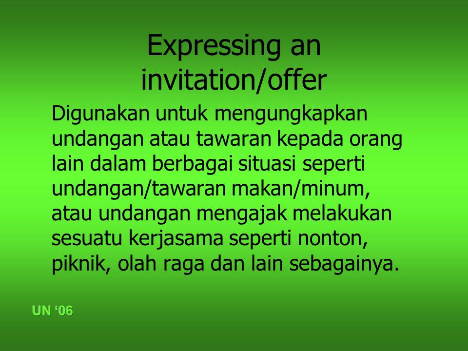 Expressing an invitation/offer Digunakan untuk mengungkapkan undangan atau tawaran kepada orang lain dalam berbagai situasi seperti undangan/tawaran m