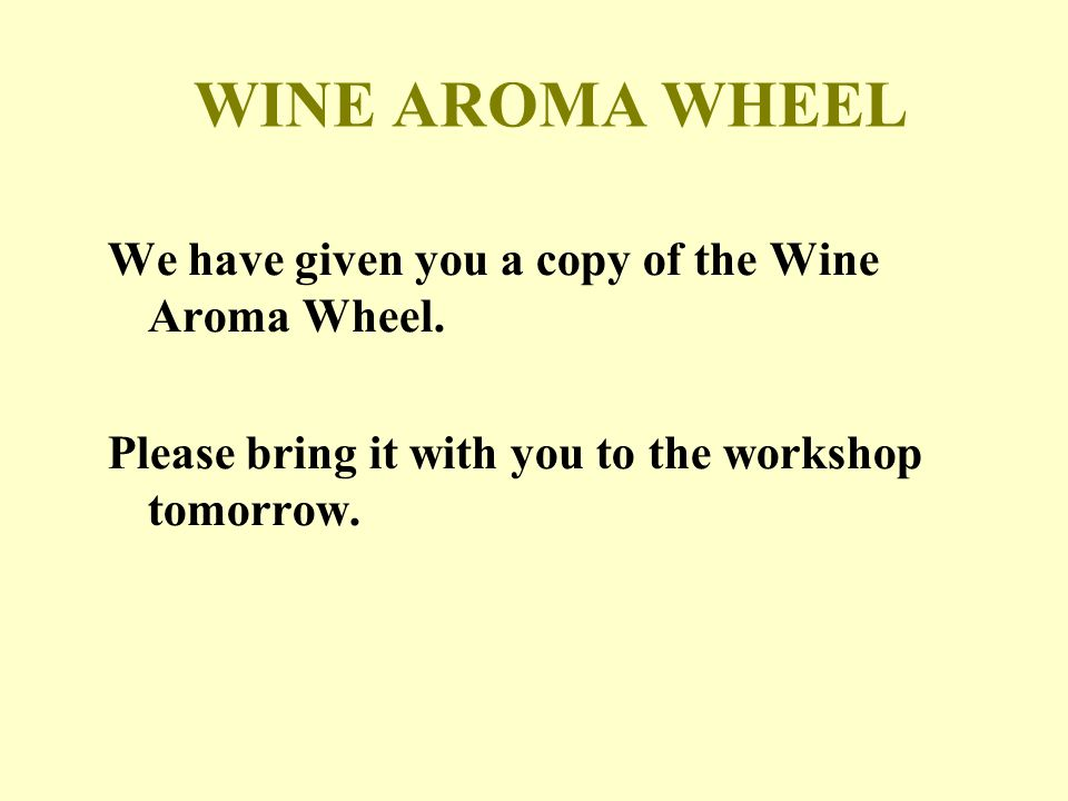 We have given you a copy of the Wine Aroma Wheel.