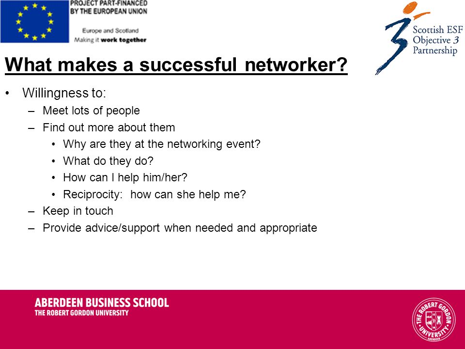 What makes a successful networker.