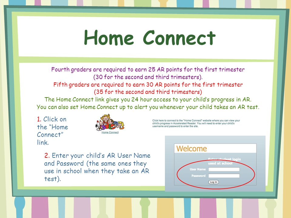Fourth graders are required to earn 25 AR points for the first trimester (30 for the second and third trimesters). Fifth graders are required to earn