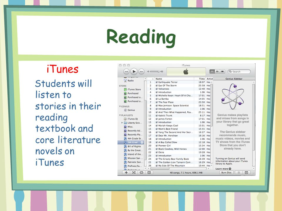 Reading iTunes Students will listen to stories in their reading textbook and core literature novels on iTunes