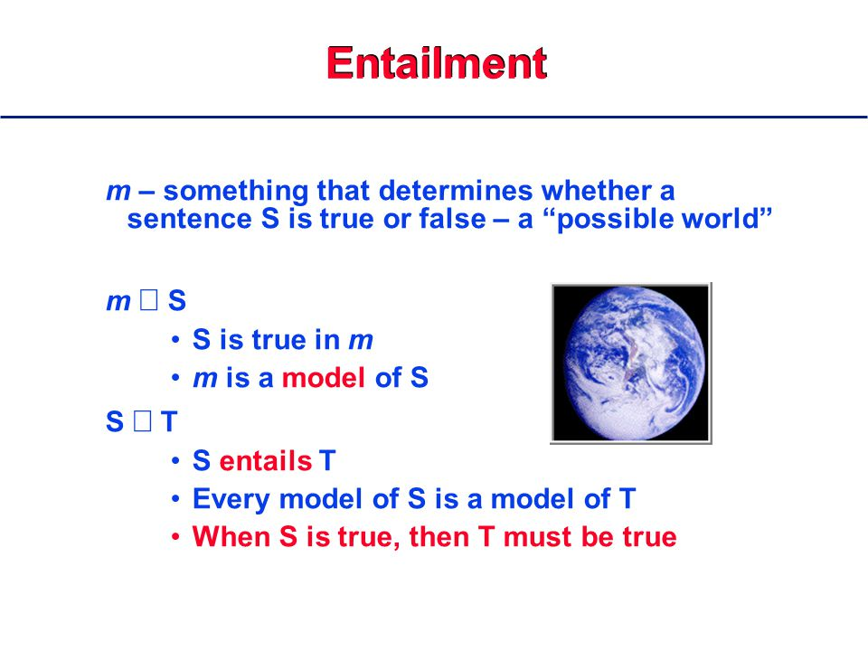Entailment m – something that determines whether a sentence S is true or false – a possible world m  S S is true in m m is a model of S S  T S entails T Every model of S is a model of T When S is true, then T must be true