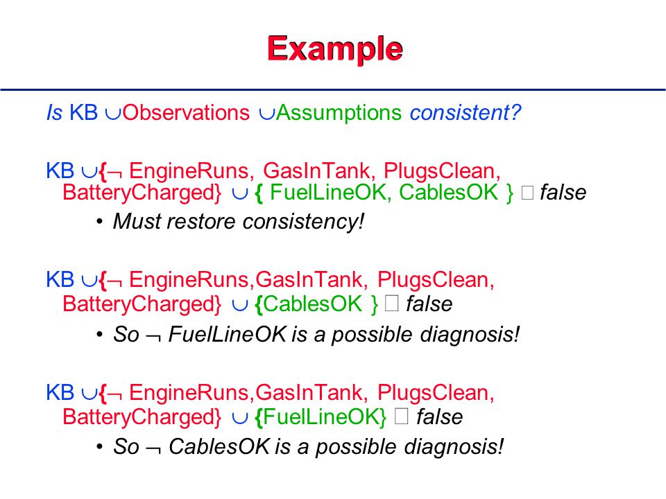 Example Is KB  Observations  Assumptions consistent.