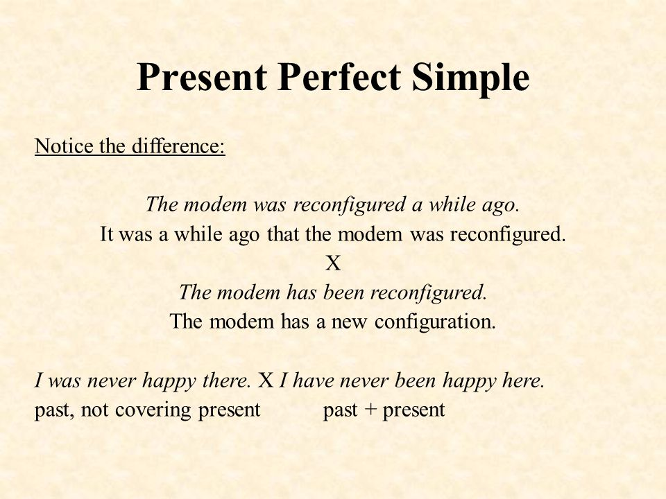 Present Perfect Simple Notice the difference: The modem was reconfigured a while ago.