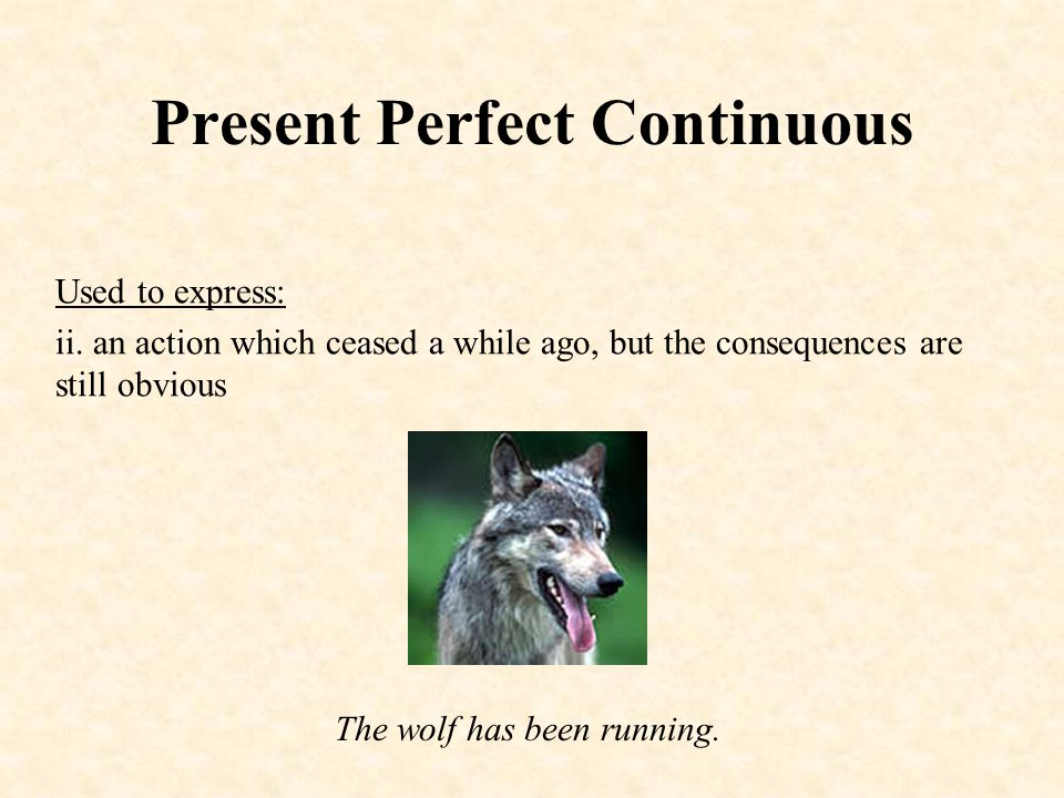 Present Perfect Continuous Used to express: ii.