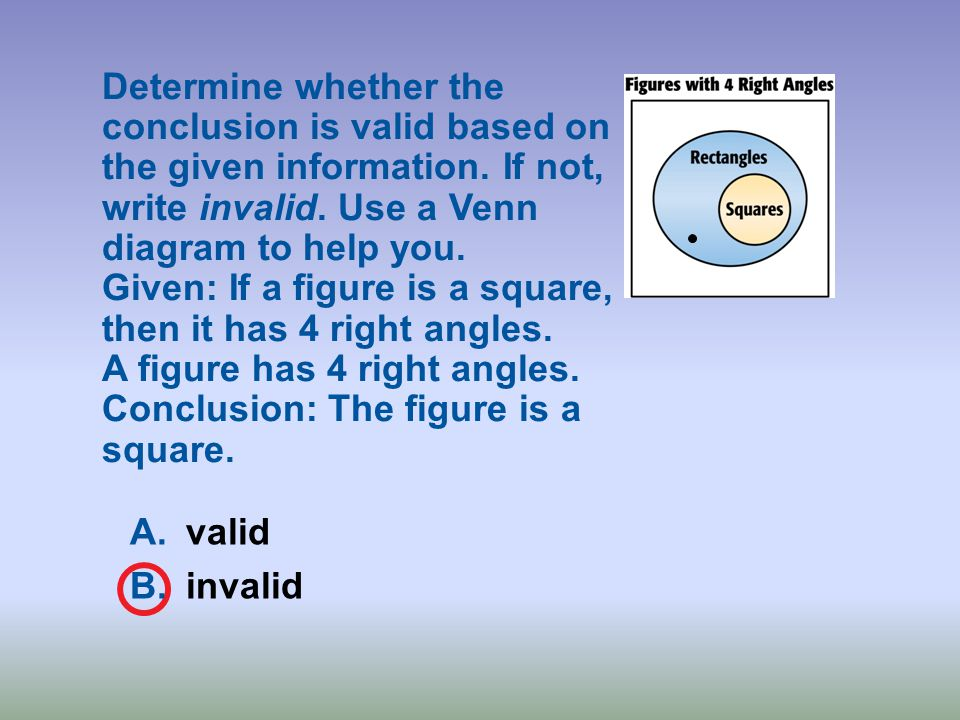 Determine whether the conclusion is valid based on the given information. If not, write invalid. Use a Venn diagram to help you. Given: If a figure is