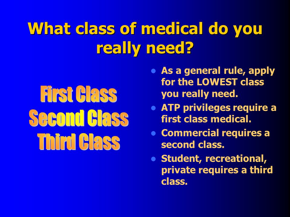What class of medical do you really need.