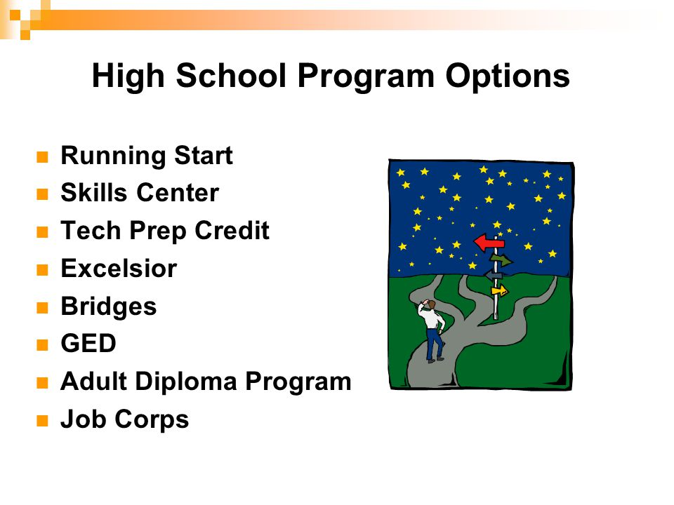High School Program Options Running Start Skills Center Tech Prep Credit Excelsior Bridges GED Adult Diploma Program Job Corps