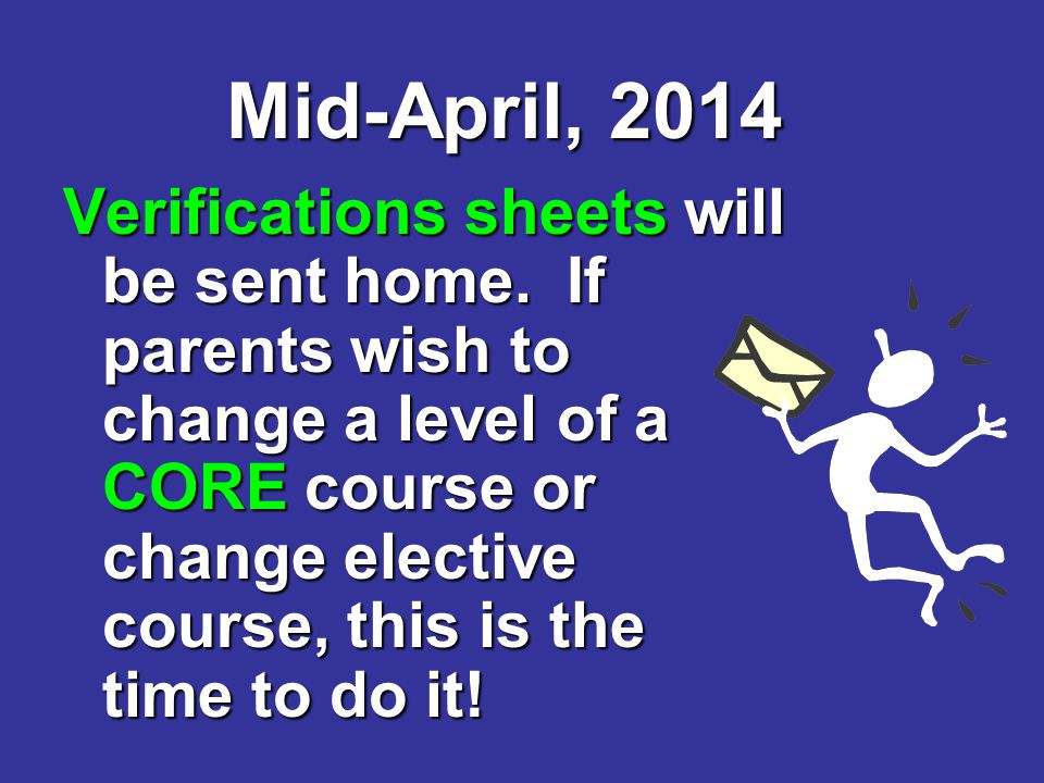 Mid-April, 2014 Verifications sheets will be sent home.
