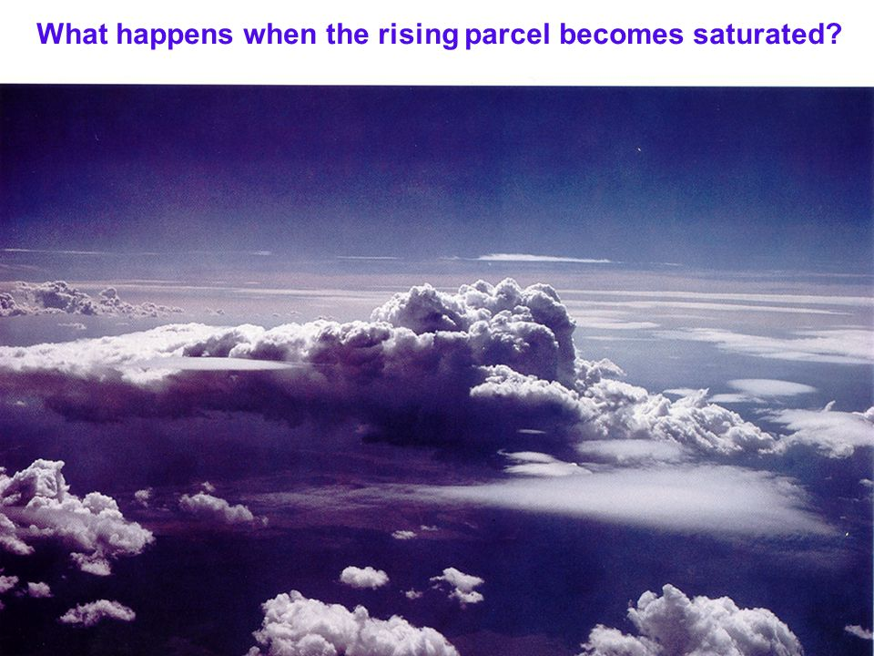 What happens when the rising parcel becomes saturated?