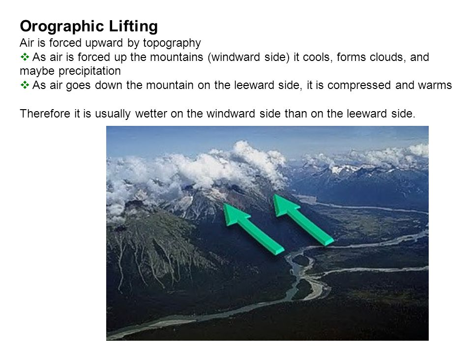 Orographic Lifting Air is forced upward by topography  As air is forced up the mountains (windward side) it cools, forms clouds, and maybe precipitat