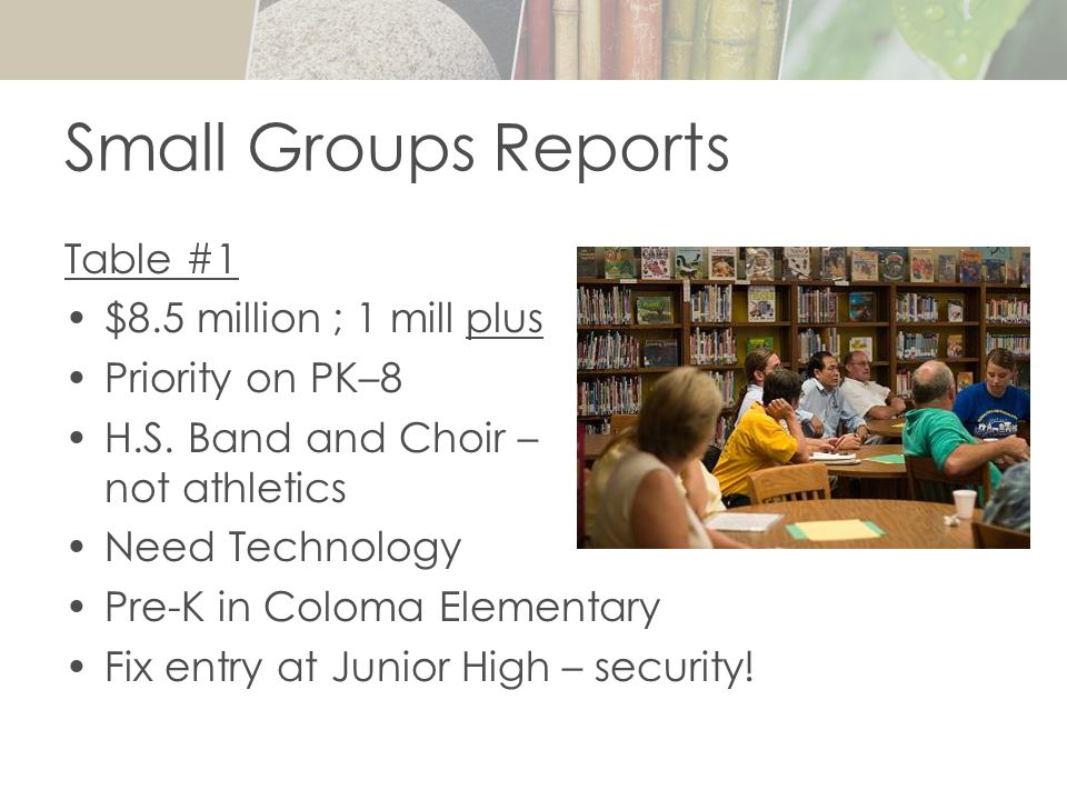 Small Groups Reports Table #1 $8.5 million ; 1 mill plus Priority on PK–8 H.S.