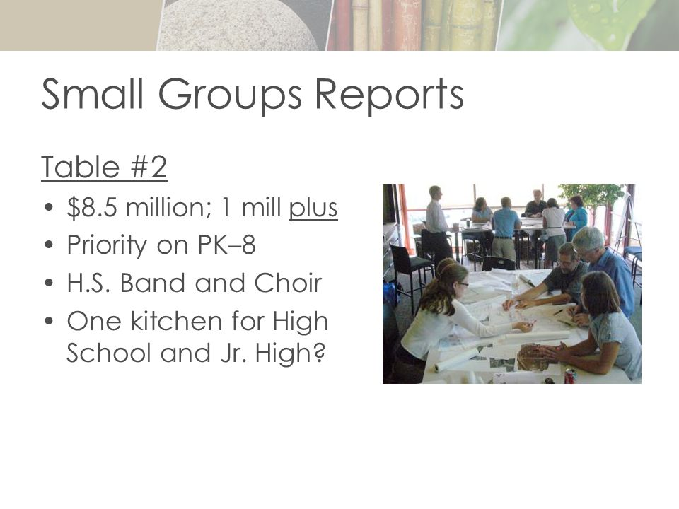 Small Groups Reports Table #2 $8.5 million; 1 mill plus Priority on PK–8 H.S.