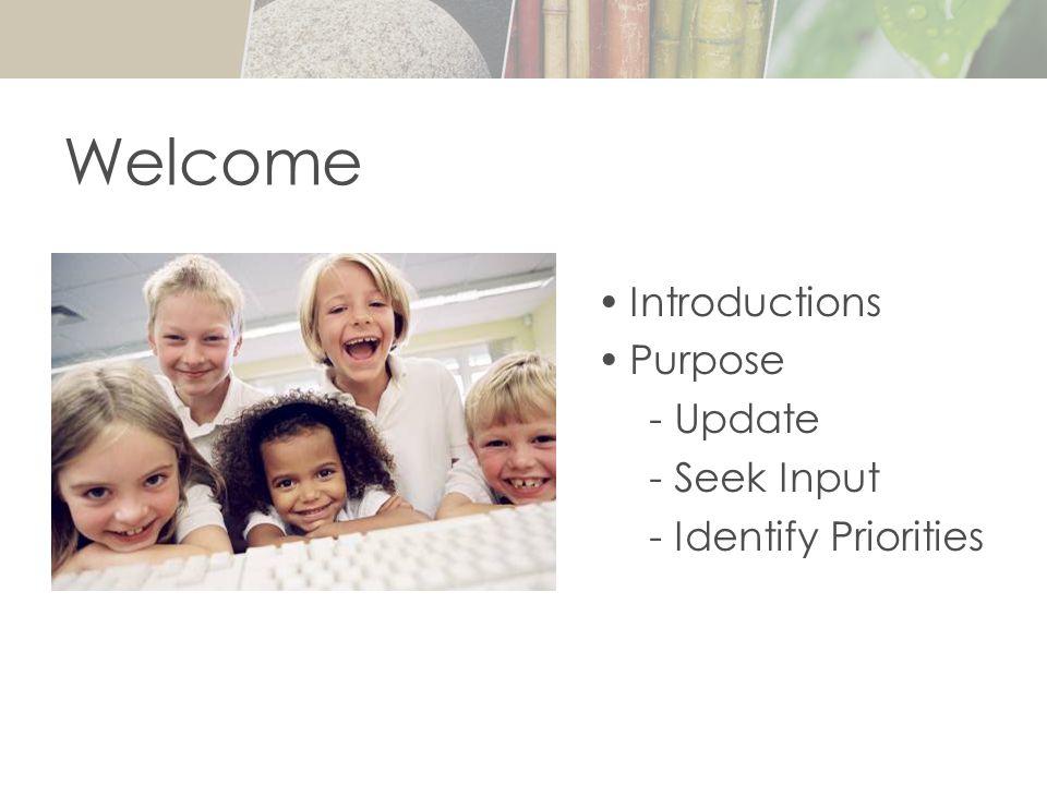Introductions Purpose - Update - Seek Input - Identify Priorities Welcome