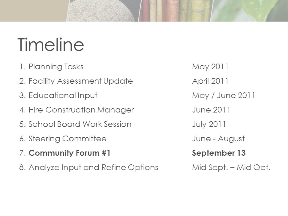 1. Planning Tasks May 2011 2. Facility Assessment UpdateApril 2011 3.