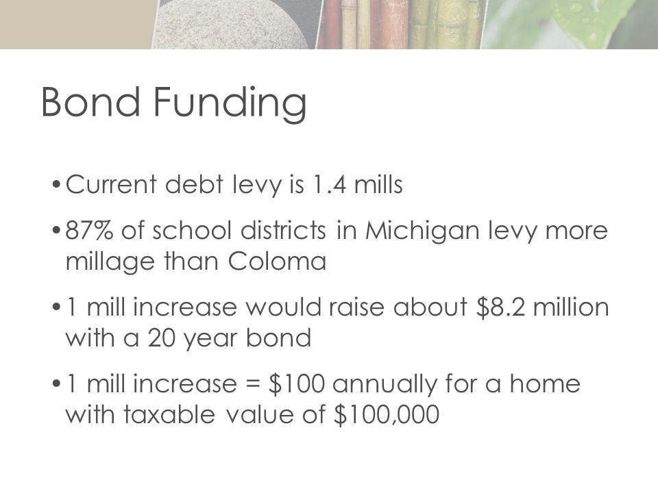Current debt levy is 1.4 mills 87% of school districts in Michigan levy more millage than Coloma 1 mill increase would raise about $8.2 million with a 20 year bond 1 mill increase = $100 annually for a home with taxable value of $100,000 Bond Funding
