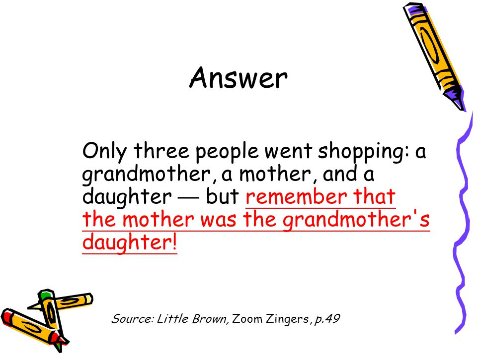 Answer Only three people went shopping: a grandmother, a mother, and a daughter — but remember that the mother was the grandmother's daughter! Source: