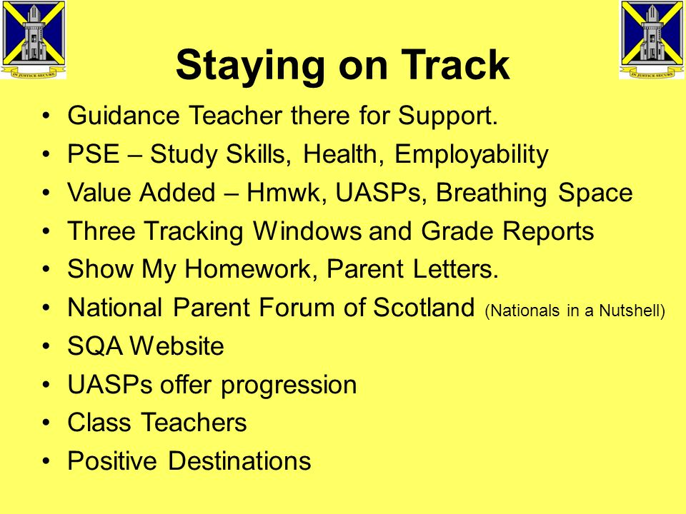 Staying on Track Guidance Teacher there for Support.