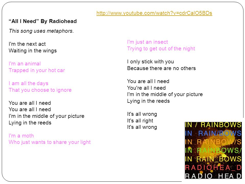 All I Need By Radiohead This song uses metaphors.