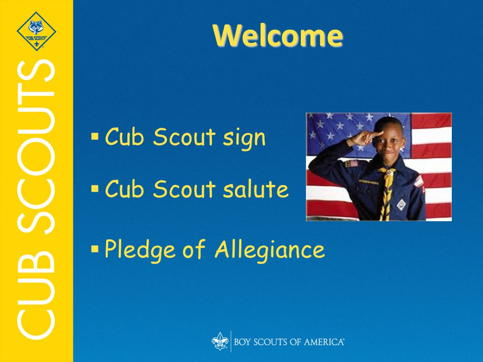  Cub Scout sign  Cub Scout salute  Pledge of Allegiance Welcome