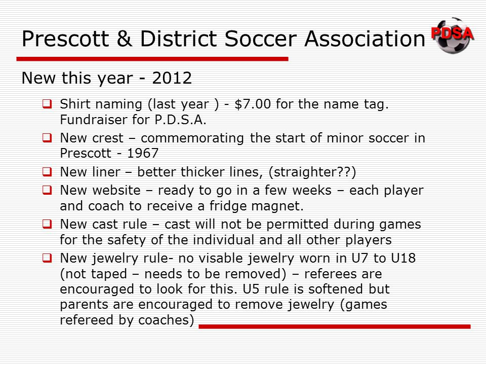 Prescott & District Soccer Association  Shirt naming (last year ) - $7.00 for the name tag.