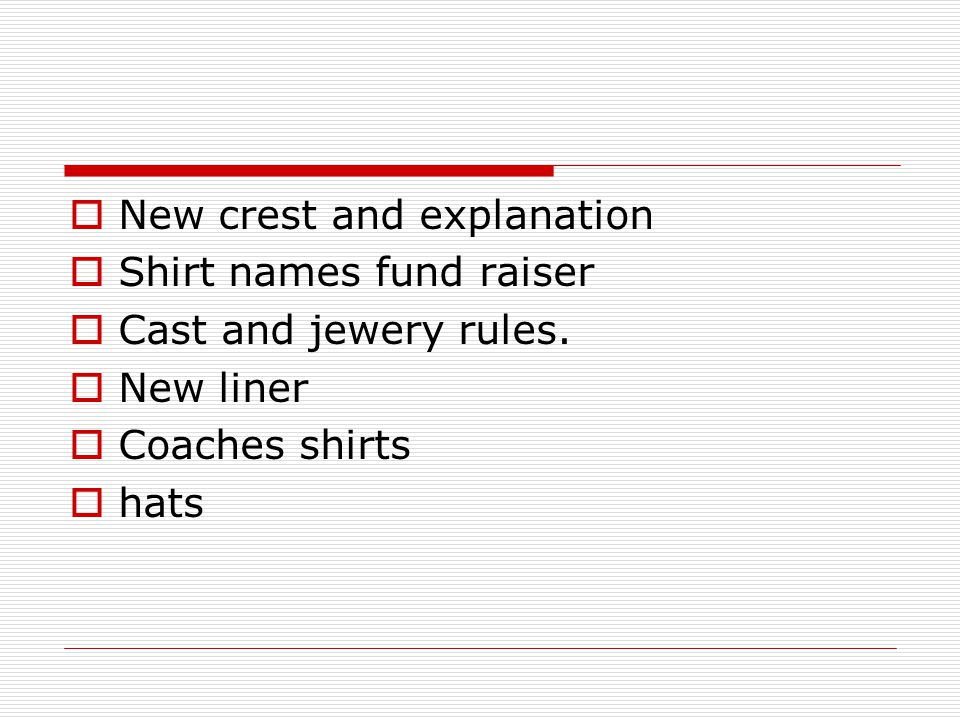  New crest and explanation  Shirt names fund raiser  Cast and jewery rules.