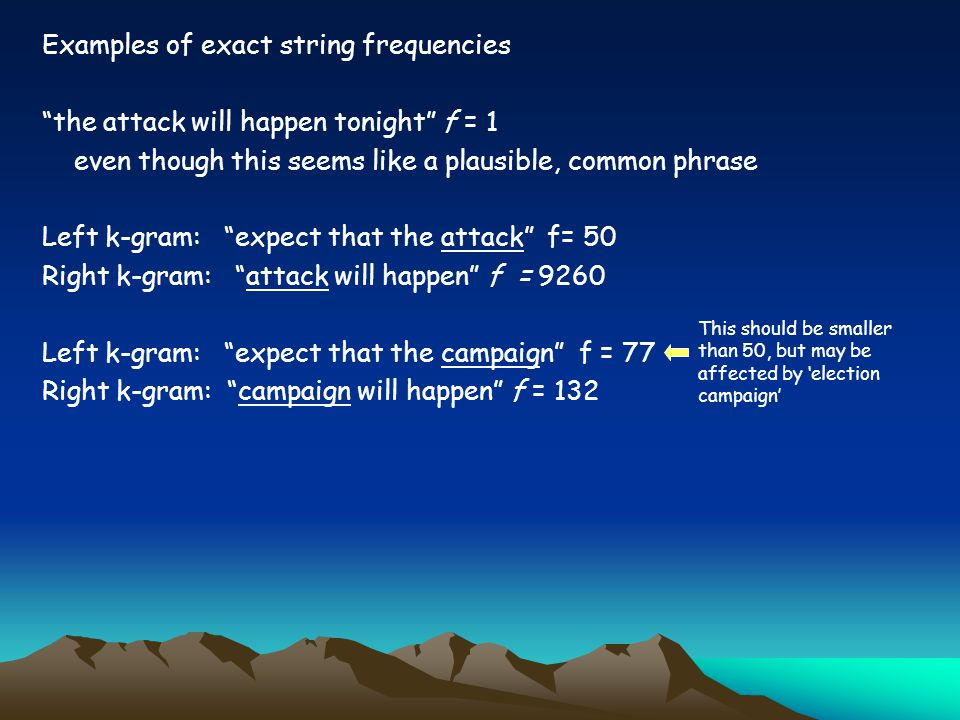 Examples of exact string frequencies the attack will happen tonight f = 1 even though this seems like a plausible, common phrase Left k-gram: expect that the attack f= 50 Right k-gram: attack will happen f = 9260 Left k-gram: expect that the campaign f = 77 Right k-gram: campaign will happen f = 132 This should be smaller than 50, but may be affected by 'election campaign'