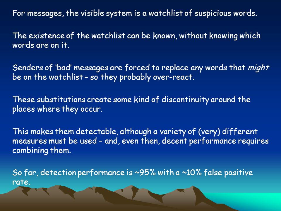 For messages, the visible system is a watchlist of suspicious words.