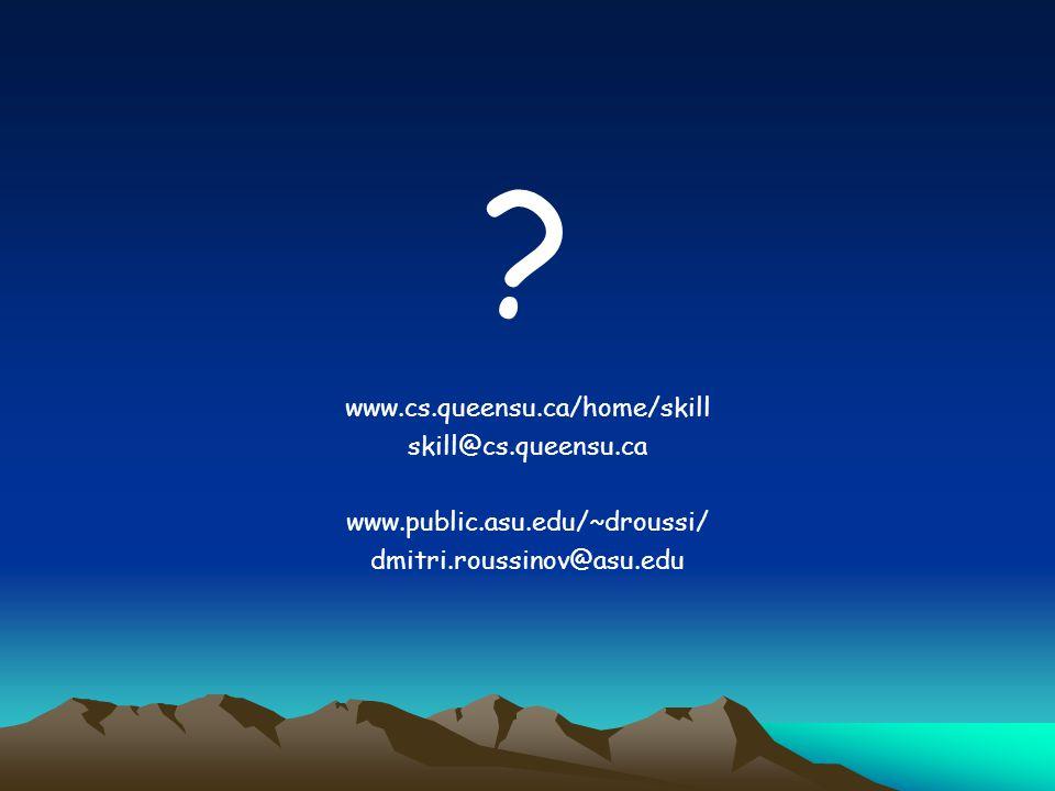 ? www.cs.queensu.ca/home/skill skill@cs.queensu.ca www.public.asu.edu/~droussi/ dmitri.roussinov@asu.edu