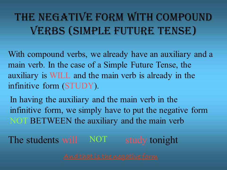 The negative form with compound verbs (Simple future tense) With compound verbs, we already have an auxiliary and a main verb.