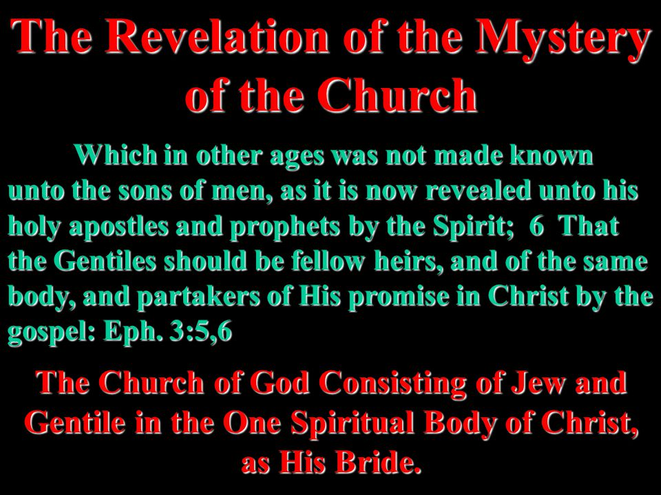Which in other ages was not made known unto the sons of men, as it is now revealed unto his holy apostles and prophets by the Spirit; 6 That the Gentiles should be fellow heirs, and of the same body, and partakers of His promise in Christ by the gospel: Eph.