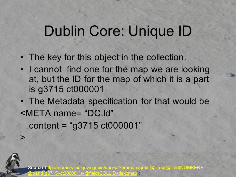 Dublin Core: Unique ID The key for this object in the collection.