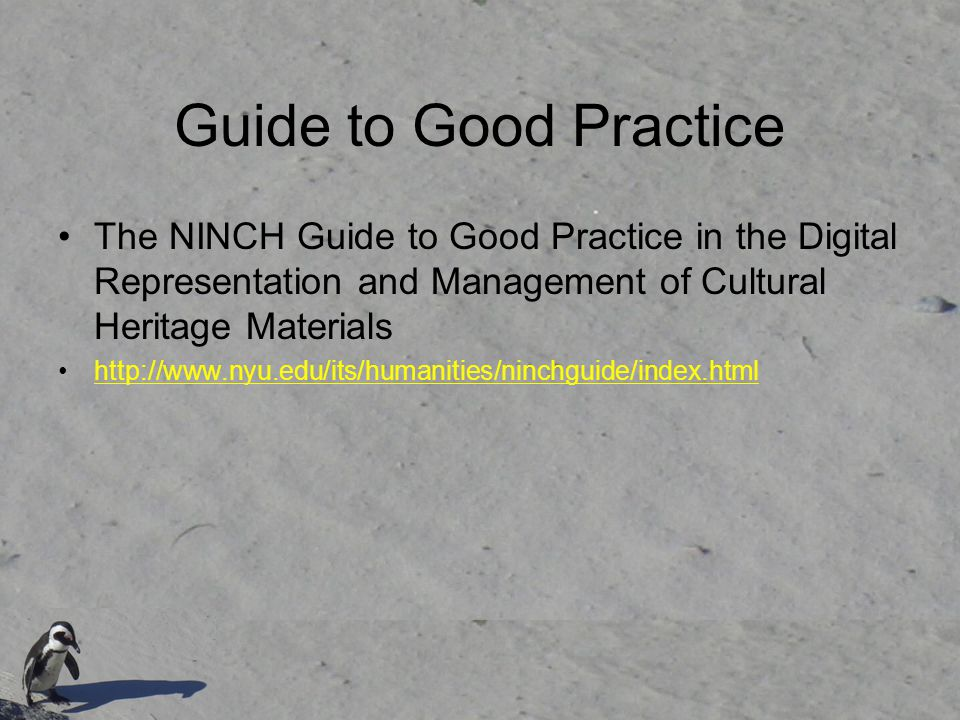 Guide to Good Practice The NINCH Guide to Good Practice in the Digital Representation and Management of Cultural Heritage Materials http://www.nyu.edu/its/humanities/ninchguide/index.html