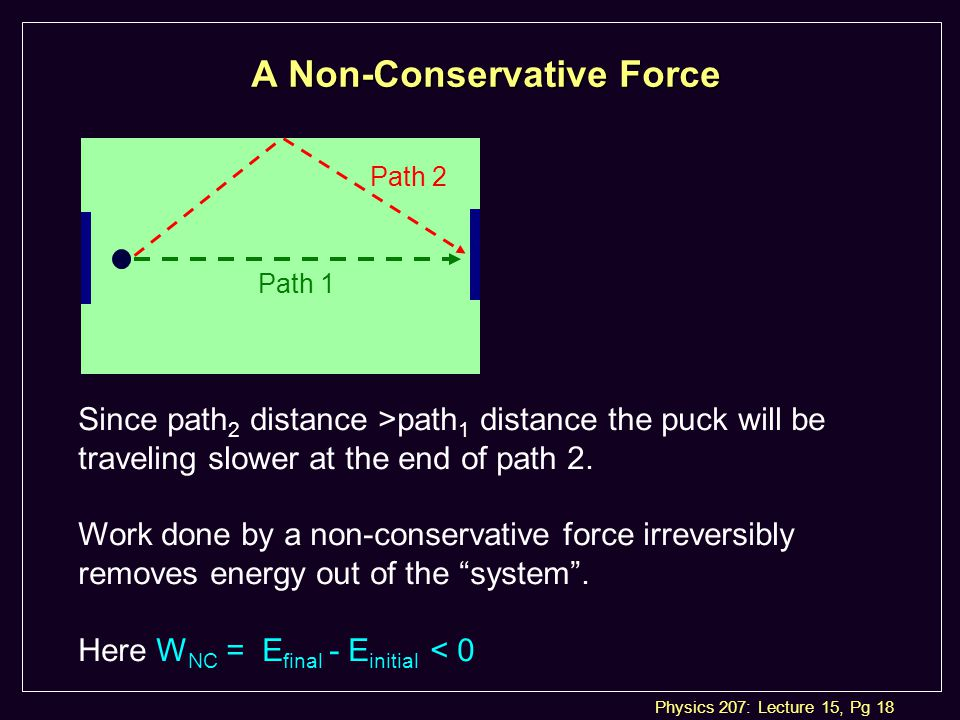 Physics 207: Lecture 15, Pg 18 A Non-Conservative Force Path 2 Path 1 Since path 2 distance >path 1 distance the puck will be traveling slower at the end of path 2.