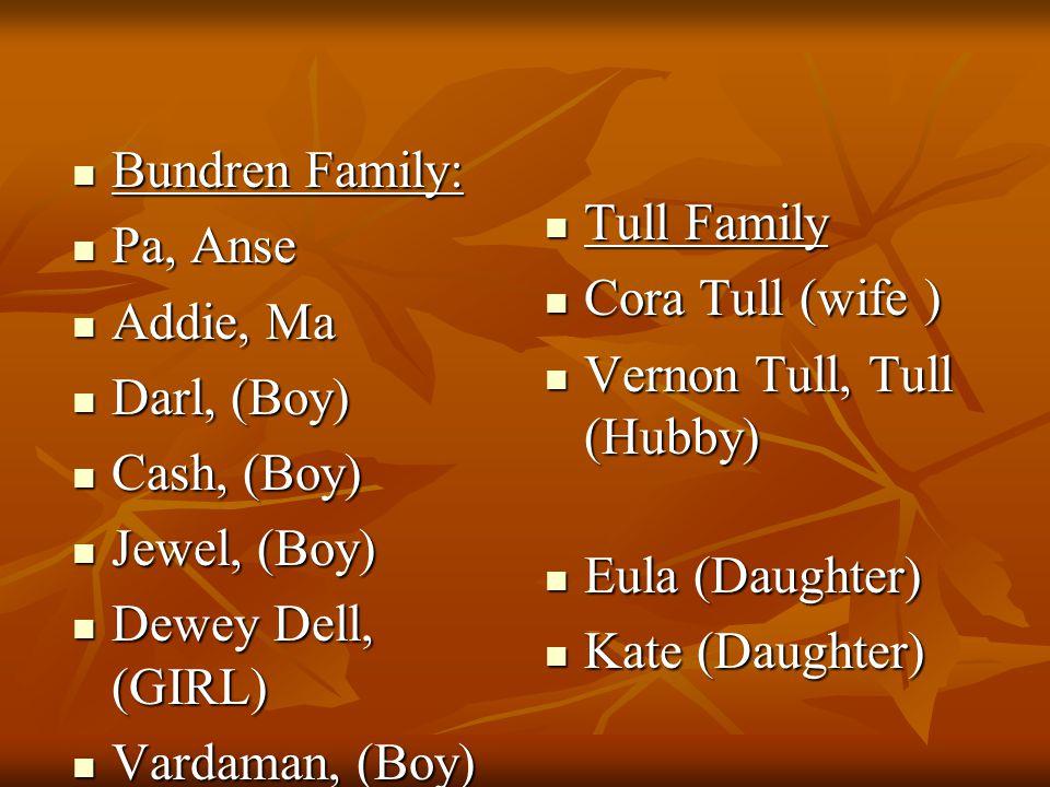 Bundren Family: Bundren Family: Pa, Anse Pa, Anse Addie, Ma Addie, Ma Darl, (Boy) Darl, (Boy) Cash, (Boy) Cash, (Boy) Jewel, (Boy) Jewel, (Boy) Dewey Dell, (GIRL) Dewey Dell, (GIRL) Vardaman, (Boy) Vardaman, (Boy) Tull Family Tull Family Cora Tull (wife ) Cora Tull (wife ) Vernon Tull, Tull (Hubby) Vernon Tull, Tull (Hubby) Eula (Daughter) Eula (Daughter) Kate (Daughter) Kate (Daughter)