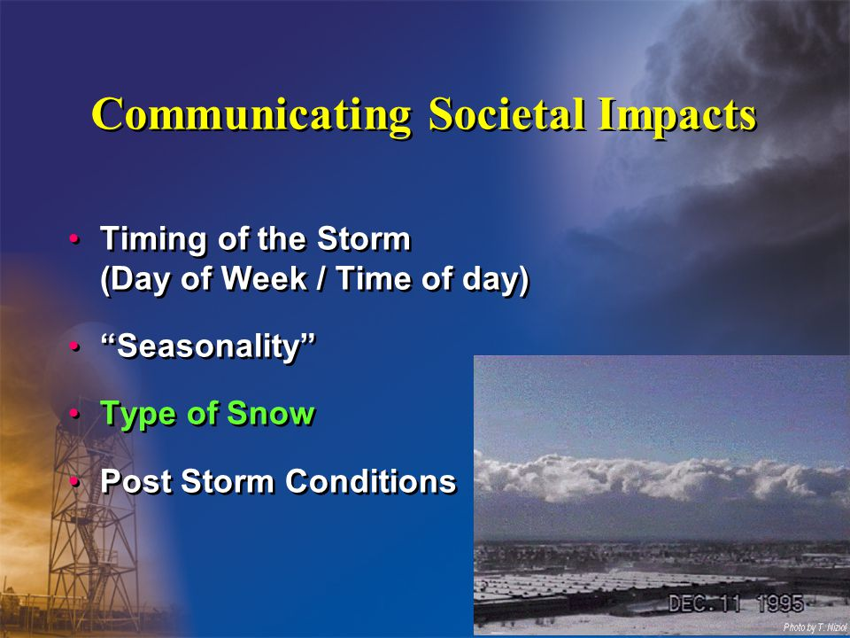 Communicating Societal Impacts Timing of the Storm (Day of Week / Time of day) Seasonality Type of Snow Post Storm Conditions Timing of the Storm (Day of Week / Time of day) Seasonality Type of Snow Post Storm Conditions