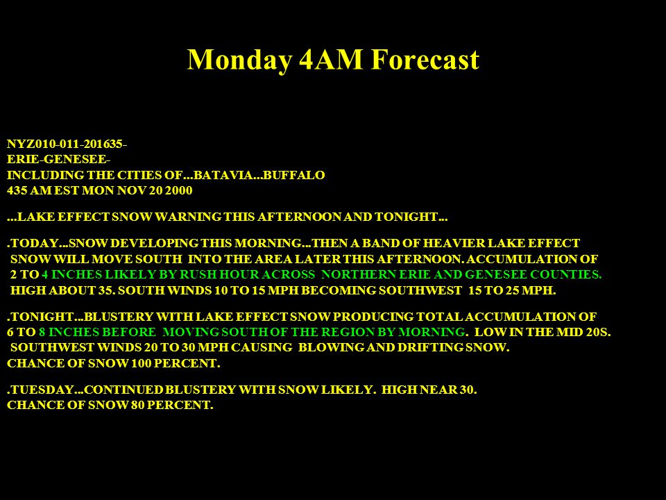 NYZ010-011-201635- ERIE-GENESEE- INCLUDING THE CITIES OF...BATAVIA...BUFFALO 435 AM EST MON NOV 20 2000...LAKE EFFECT SNOW WARNING THIS AFTERNOON AND TONIGHT....TODAY...SNOW DEVELOPING THIS MORNING...THEN A BAND OF HEAVIER LAKE EFFECT SNOW WILL MOVE SOUTH INTO THE AREA LATER THIS AFTERNOON.
