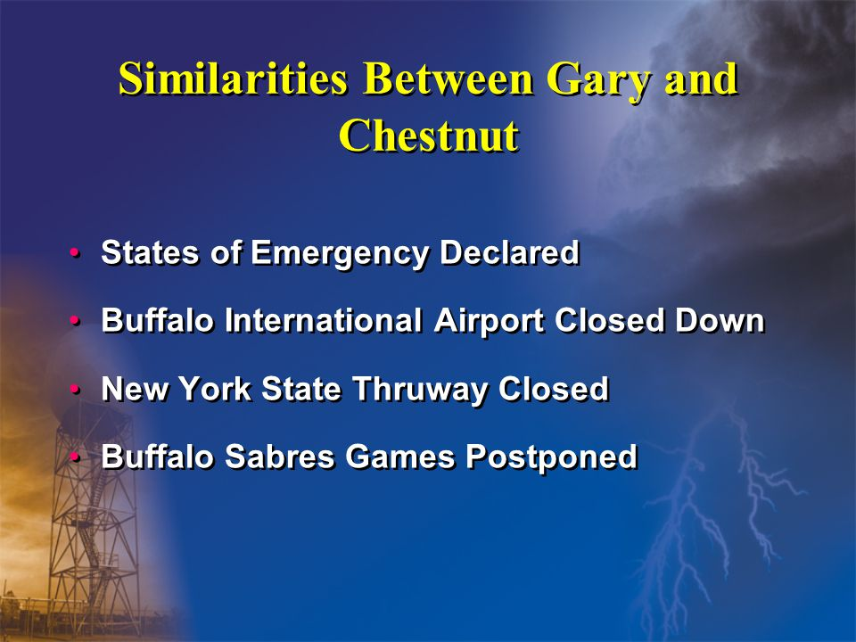 Similarities Between Gary and Chestnut States of Emergency Declared Buffalo International Airport Closed Down New York State Thruway Closed Buffalo Sabres Games Postponed States of Emergency Declared Buffalo International Airport Closed Down New York State Thruway Closed Buffalo Sabres Games Postponed