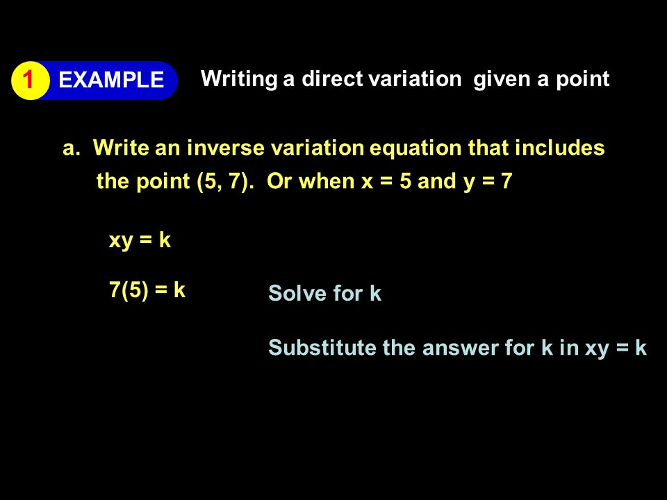 Writing a direct variation given a point a.