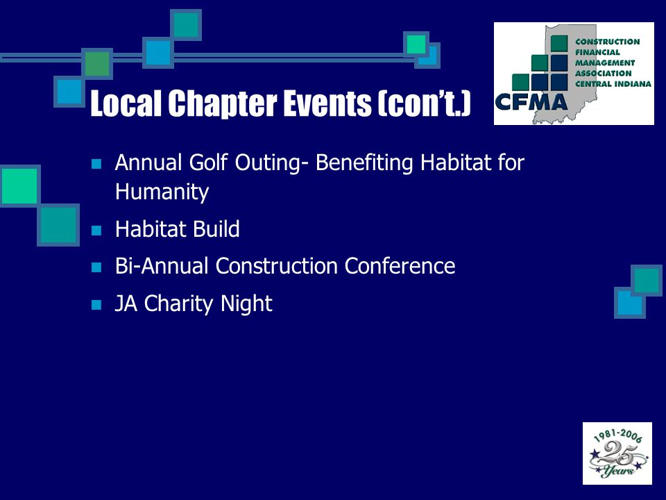 Local Chapter Events (con't.) Annual Golf Outing- Benefiting Habitat for Humanity Habitat Build Bi-Annual Construction Conference JA Charity Night