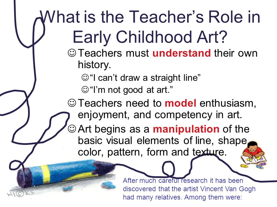 "What is the Teacher's Role in Early Childhood Art? Teachers must understand their own history. ""I can't draw a straight line"" ""I'm not good at art."" T"