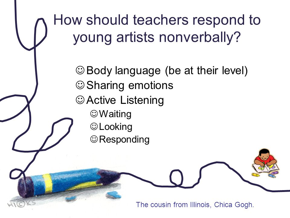 How should teachers respond to young artists nonverbally? Body language (be at their level) Sharing emotions Active Listening Waiting Looking Respondi