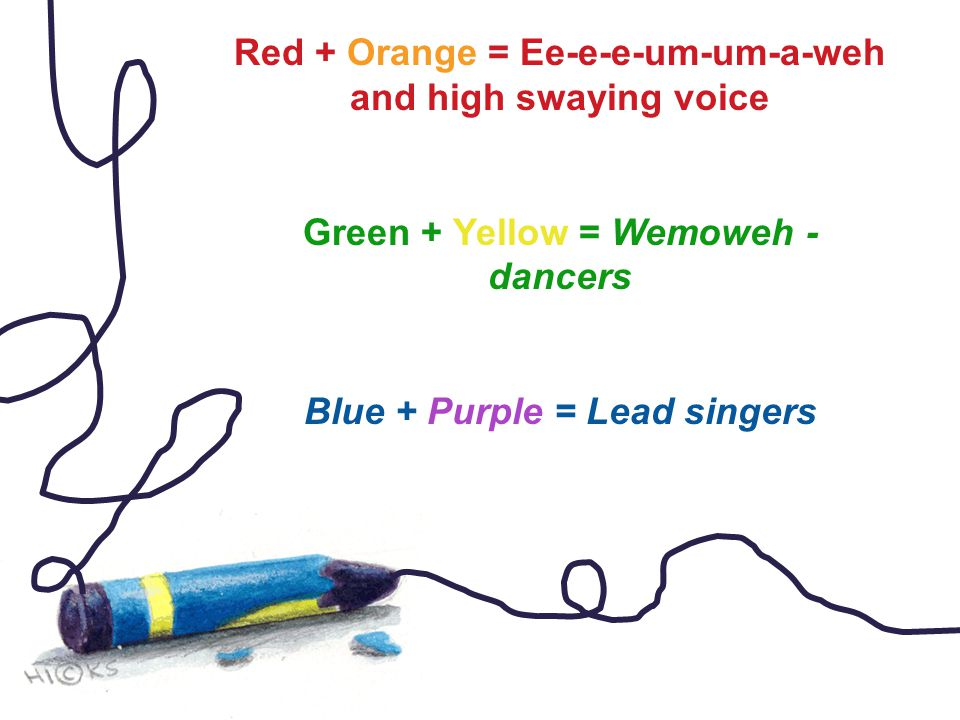 Red + Orange = Ee-e-e-um-um-a-weh and high swaying voice Green + Yellow = Wemoweh - dancers Blue + Purple = Lead singers