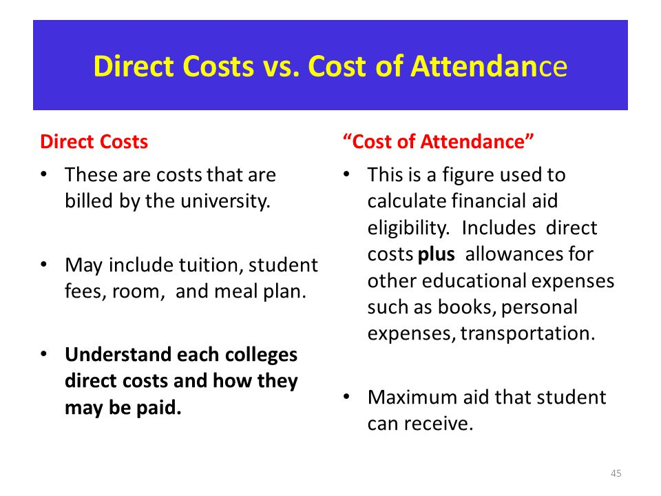 Direct Costs vs. Cost of Attendance Direct Costs These are costs that are billed by the university. May include tuition, student fees, room, and meal