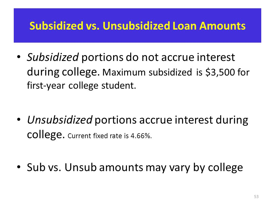 Subsidized vs. Unsubsidized Loan Amounts Subsidized portions do not accrue interest during college. Maximum subsidized is $3,500 for first-year colleg