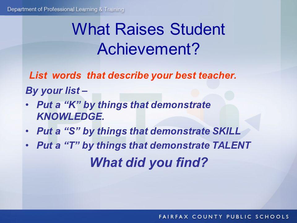 What Raises Student Achievement. List words that describe your best teacher.