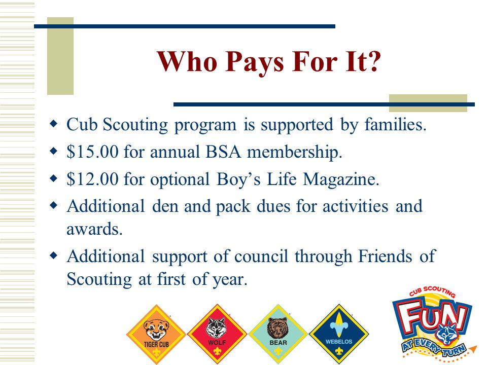 Who Pays For It?  Cub Scouting program is supported by families.  $15.00 for annual BSA membership.  $12.00 for optional Boy's Life Magazine.  Add
